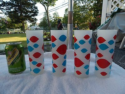 Set Of 4 Vintage Dairy Queen 12 Ounce Frosted Glasses  Tall Dq Floats