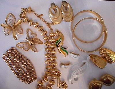 Vtg MONET Costume Jewelry Lot Gold Tone Bangles Necklace Earrings Brooch 13PCS