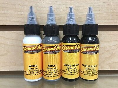 Eternal Tattoo Ink Black & Gray 4 Color 1 Ounce Professional Set 100% Authentic