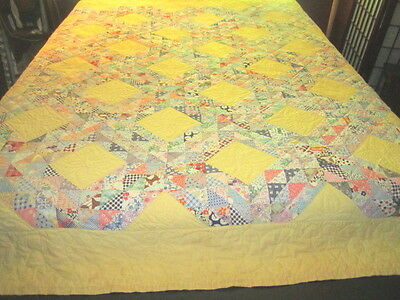Vintage 1930s Beautiful Irish Chain 84x84 Cotton Feedsack Quilt All Handsewn XLT