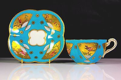 Antique Coalport Quadrifoila Japanese Aesthetic Cup & Saucer C.1890
