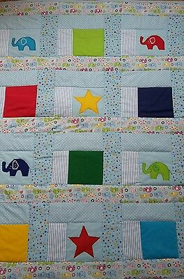 Baby Boy Cot  quilt with Ellies and stars