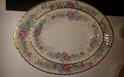 2 Large Syracuse Lilac Rose Serving Platters