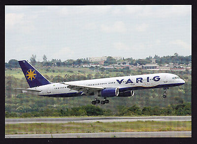 Aviation Aircraft Varig B-757 landing at Brasilia Photo Postcard Aeroplane 2006