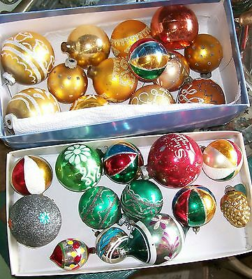 Box Lot Antique Vintage Glass Christmas Ornaments Painted Holiday Balls
