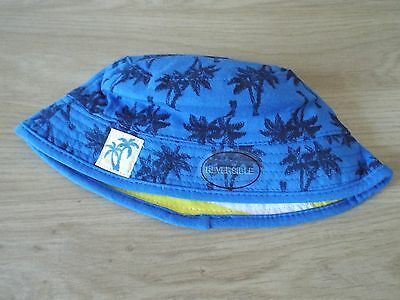 New Baby Boy's M&CO Blue/Yellow Mix Reversible Cotton Summer Hat age 0-6 months