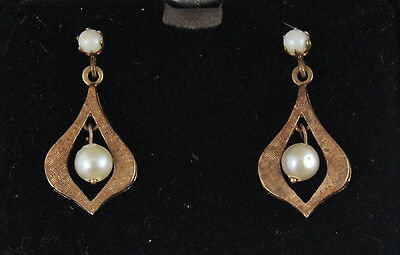 Antique / Vintage Victorian Style 14k Yellow Gold and Pearl Earrings