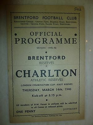 1946 London Combination Cup BRENTFORD RES. v CHARLTON ATHLETIC RESERVES