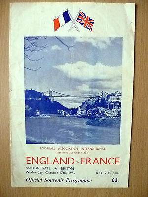 International Match Under 23 Official Souvenir 1956- ENGLAND v FRANCE, 17th Oct
