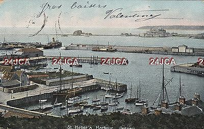 Channel Islands Postcard. St. Helier's Harbour, Jersey. Rare Version!  1908