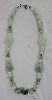 "Vintage Chinese Carved Green Jade 24"" Necklace Antique Buddha & Shou Beads"