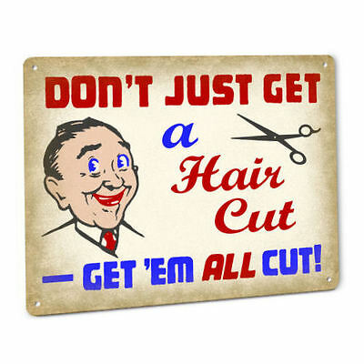 Hair Cut Joke SIGN Funny Vintage Stylist Barber Shop Humor Retro Wall Art Plaque