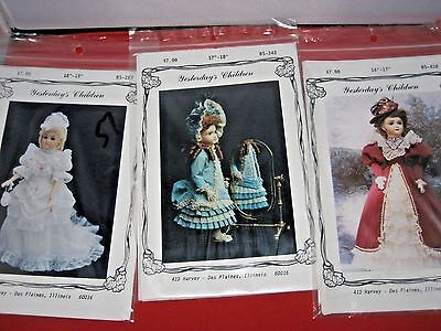 Lot of 3 ANTIQUE DOLL DRESS PATTERNS: YESTERDAY'S CHILDREN BS-287,343,418