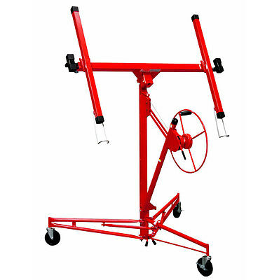 Rolling 11' Drywall Lifter Panel Hoist Jack Lockable Tool Commercial Steel Winch