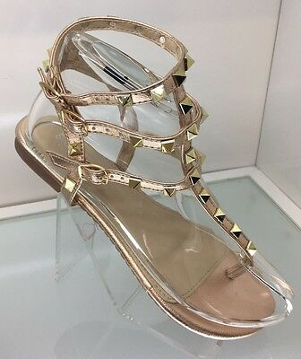 Ladies Womens Gold Gladiator Sandals Stud Strappy Flat Heel Beach Shoes Size 6