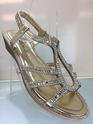 Ladies Womens Gold Sandals Diamante Flat Comfort Low Wedge Beach Shoes Size 4