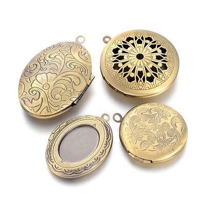 5pcs Assorted Brass Locket Pendants Photo Frame Charms Antique Bronze 29~40mm
