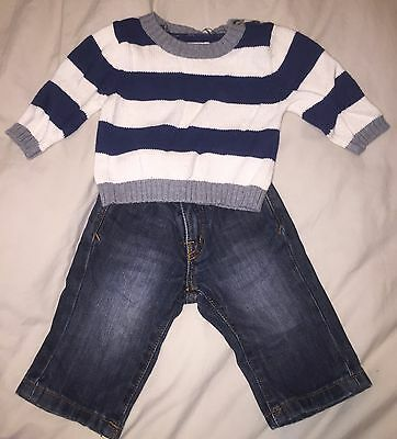 Carter's Denim Blue Pants & Lullaby Club Sweater Outfit 6-9 Months Baby