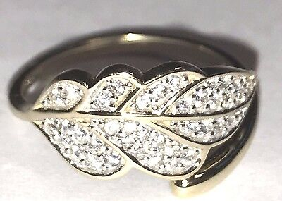 RING leaf Solid Real yellow Gold Size 7.5  4 5 6 7 8 9