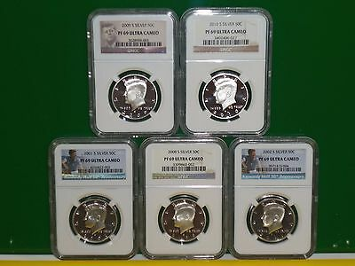 5 - Kennedy Silver Proof 50 Cent Coins - Ngc - Pf69 -  Various Dates
