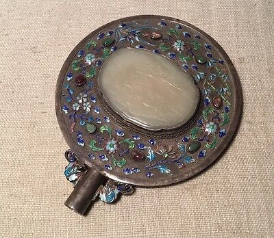 Antique Chinese Sterling Silver & Enamel Large Carved Celadon Jade Hand Mirror
