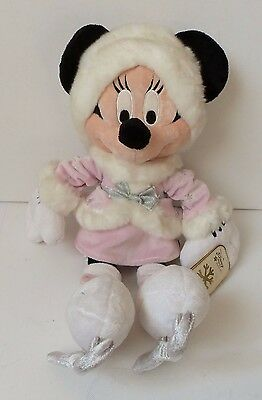 Minnie Mouse Ice Skating Plush Soft Toy tag Disney Store Pink Winter Dress 45 cm