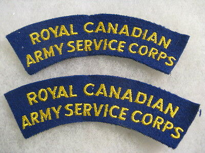 Royal Canadian Army Service Corps shoulder flash set of 2