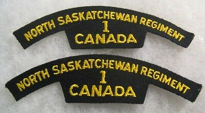 Canada: North Saskatchewan Regiment - 1st bat. shoulder flash set of 2