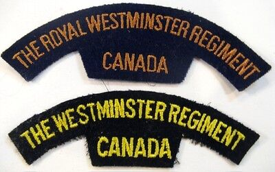 Canadian Army - 2 types of Royal Westminster Reg't of Canada shoulder flashes