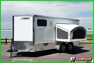 7 X 16 Enclosed Motorcycle ATV Trailer Popout Sleeper A/C, Awning, Electrical