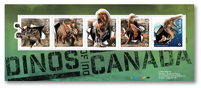 ca. DINOS of CANADA 2015, S/S of 5 sts Holographic Foil EFFECT, Multi Embossing