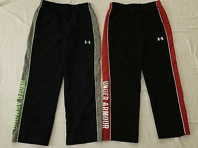 2 pair Under Armour Boys Youth YXL Pants Loose Fit Athletic Pants Black