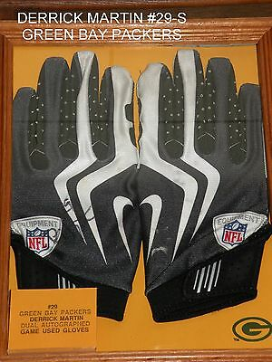 Green Bay Packers Dick Martin Game Used Gloves-Dual Auto.