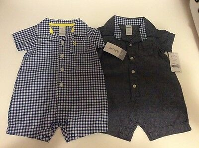 NWT LOT OF 2 CARTER'S Baby Boy One Piece Summer Outfits Size 3 Months