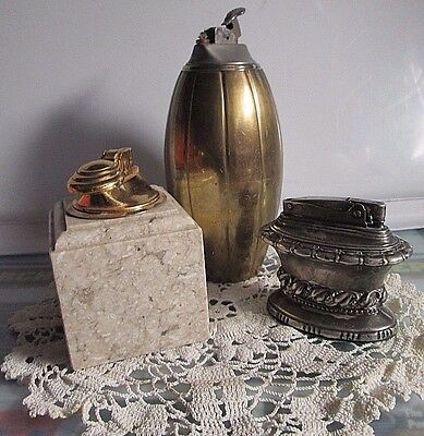 Lot Of 3 Vintage Table Lighters Marble, India Brass , Ronson Waldorf