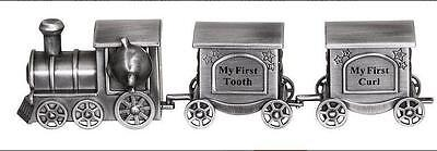 NEW Pewter FIRST TOOTH & CURL PEWTER TRAIN, Christening, Birth, New Baby, Gift!