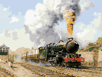 DIY Paint By Number 16*20inches kit Oil Painting Steam Train On Canvas 1112