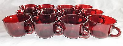Set of 12 Ruby Red Glass Punch / Coffee Cups