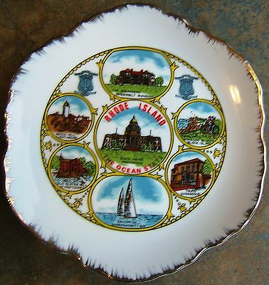 Vintage Rhode Island The Ocean State Nanco Souvenir Ceramic Collector Plate GOLD