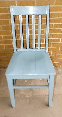 Vintage Straight Back Blue Wood Chair Country Rustic Decor Planter
