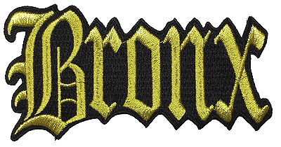 "Bronx New York City Iron On Embroidered Patch NY 4.5"" x 2.5"" GOLD METALLIC"