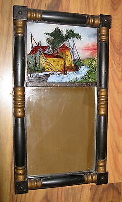 Antique Federal Split Column Wall Mirror with Reverse Painting on Glass