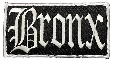 "Bronx New York City Iron On Embroidered Patch NY 4.75"" x 2.5"" WHITE"