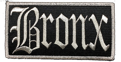"Bronx New York City Iron On Embroidered Patch NY 4.75"" x 2.5"" SILVER METALLIC"