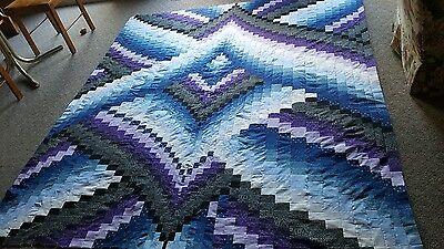 HANDMADE  BARGELLO QUILT TOP,  BLACKS, BLUES , PURPLE & GREYS  APPROX 90x78