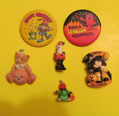 Halloween Pinback and Brooch Mixed Lot of 6 pcs Some vintage