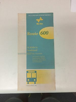1997 Melbourne Bus Timetable Route 600