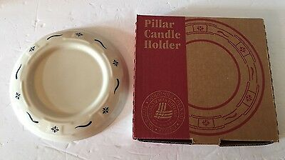 """New LONGABERGER 4"""" Pillar Candle Holder Woven Traditions Classic Blue With Box"""