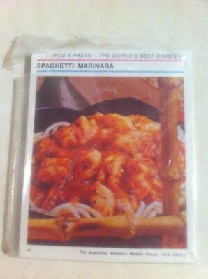 Womens Weekly Recipe Card File Box Replacement Set Rice and Pasta