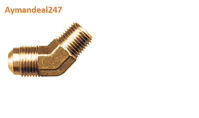 """(2) 45° Elbow forged Male BRASS FITTING Pipe to SAE 45 Flare 5/8"""" Tube OD"""